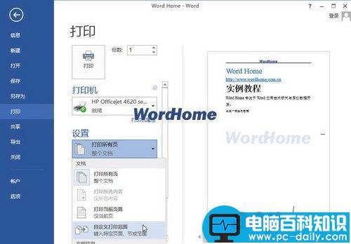 Word2013中怎样打印指定页码的文档